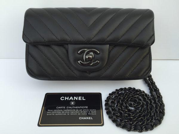 08b8251a328 Rare Chanel Mini Chevron All Black -