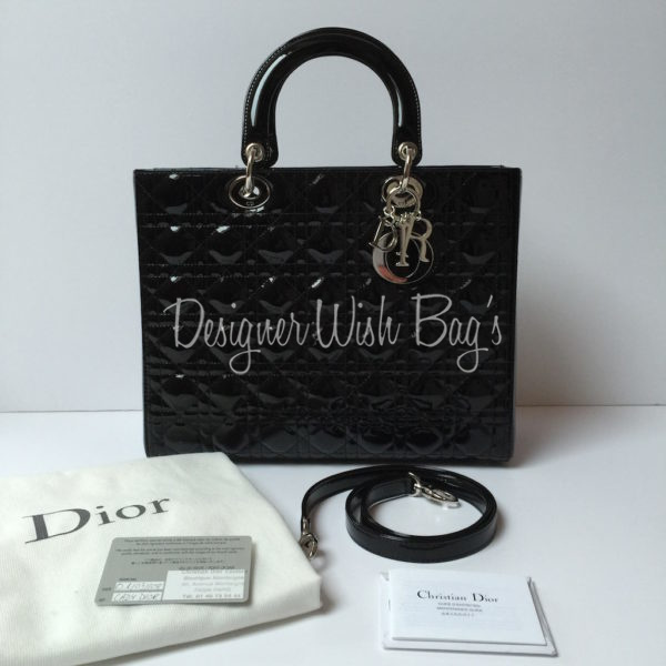 Lady Dior Large Size Black Patent Leather - As NEW! - 63a0d9b02cab9