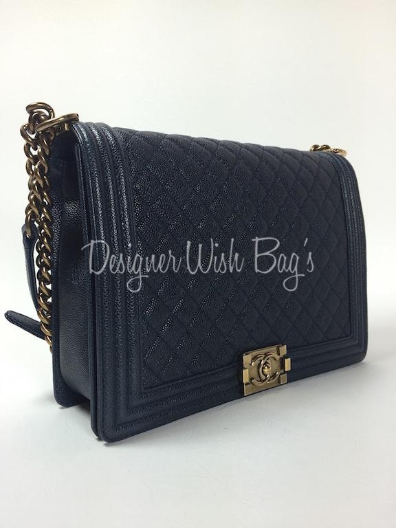 b31f21e3729f Chanel Boy Bag Navi Caviar Leather -