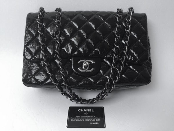 8a3ec692c6b3 Chanel Jumbo Single Flap Black Distressed Patent. IMG_9417. IMG_9419.  IMG_9398
