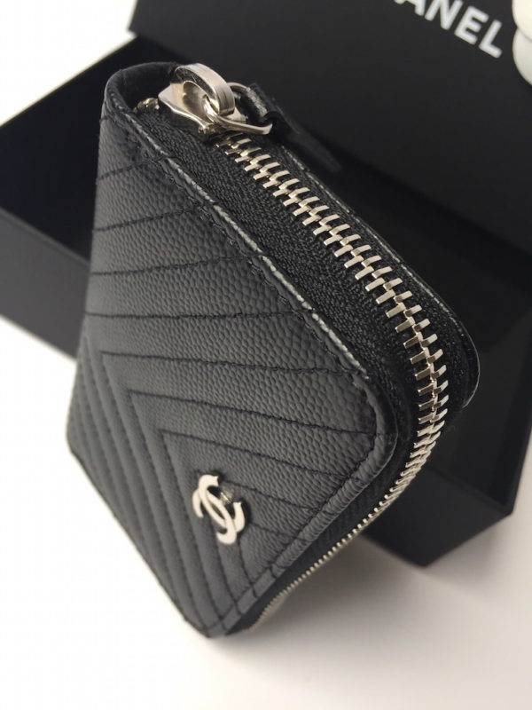 Chanel Wallet Black Caviar Chevron - NEW - c3c45a0a1