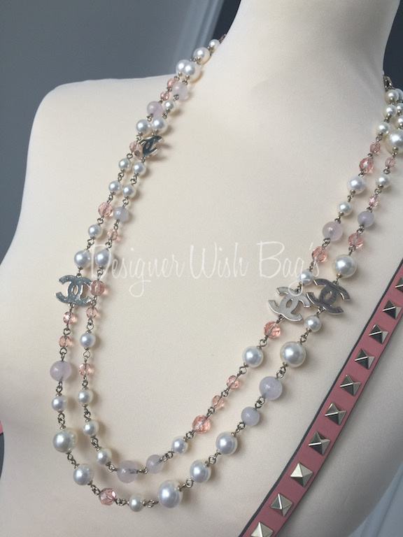 Chanel Necklace Pink Crystals and Pearls