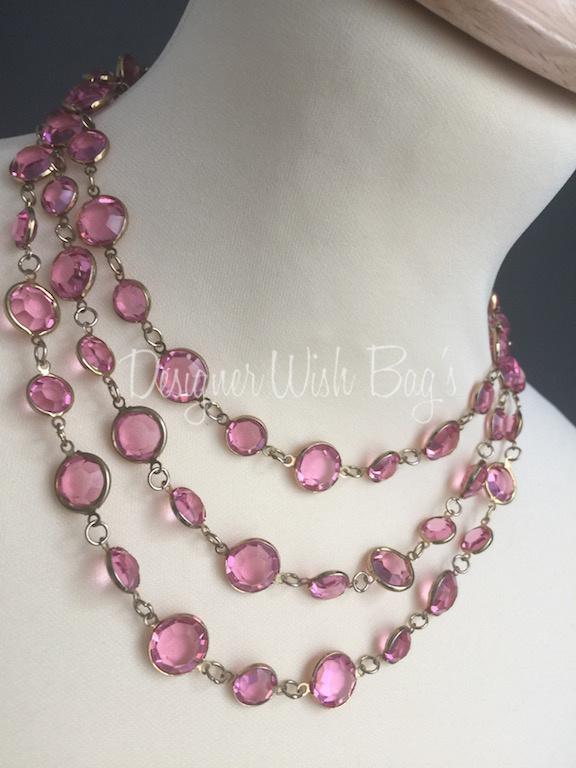 Chanel Vintage Pink Crystals Necklace