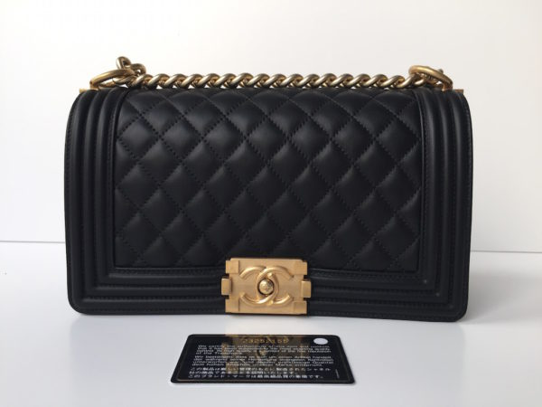 chanel boy bag black with gold hdw new!! -