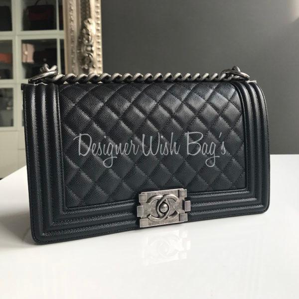 0ea772436cce2f Chanel Boy Medium Black Caviar Ruthenium -