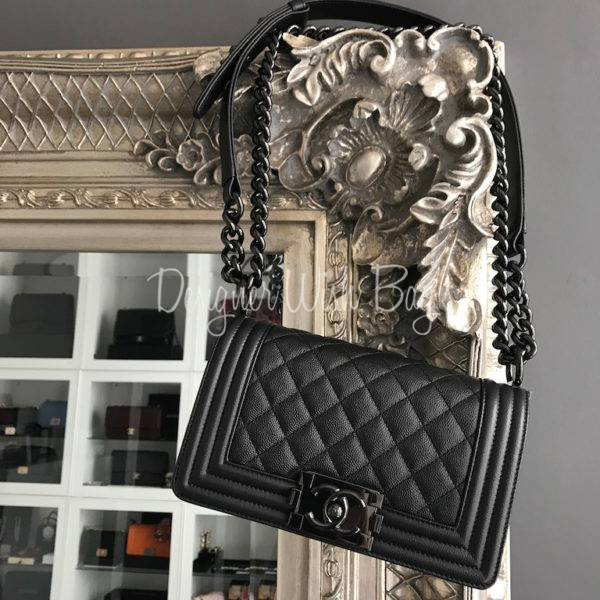 2e8a982bcb77 Chanel Boy SO Black Caviar Small SS17 -
