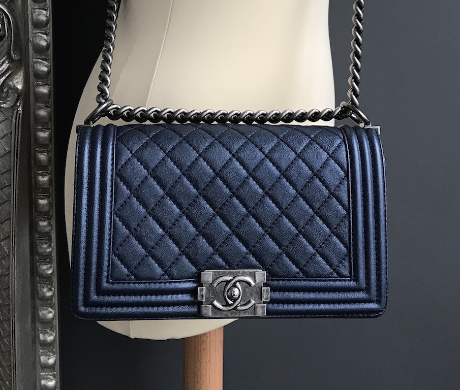 Chanel Boy Metallic Blue