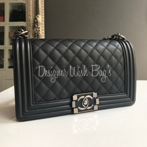 d22f18481953b9 Chanel Boy Medium Black Calf -