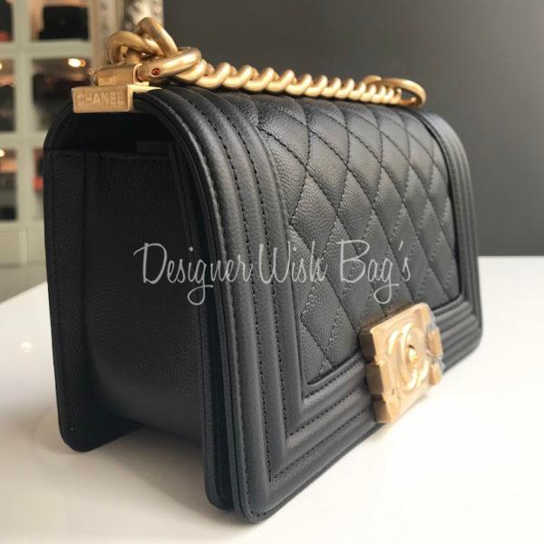 4f42869f9222 Chanel Boy Small Black Caviar GHW New -