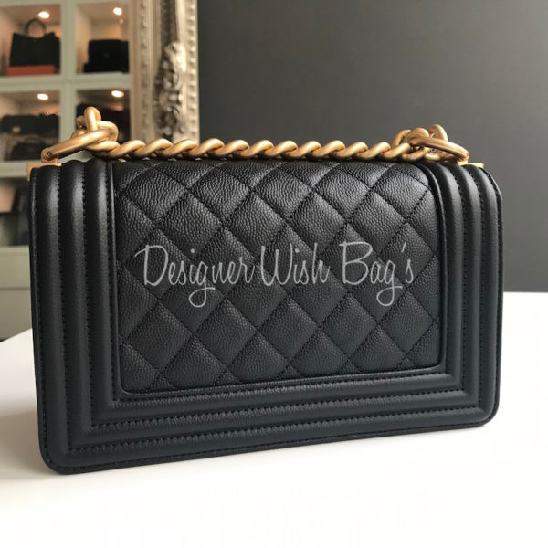 6f80cdeebe22 Chanel Boy Small Black Caviar GHW New -