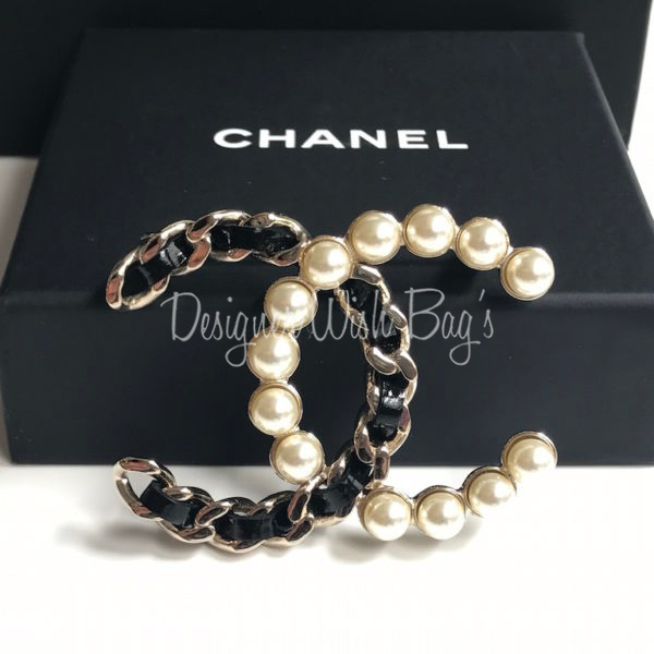 vintage dsc bow brooch channel crystal chanel gold pearl