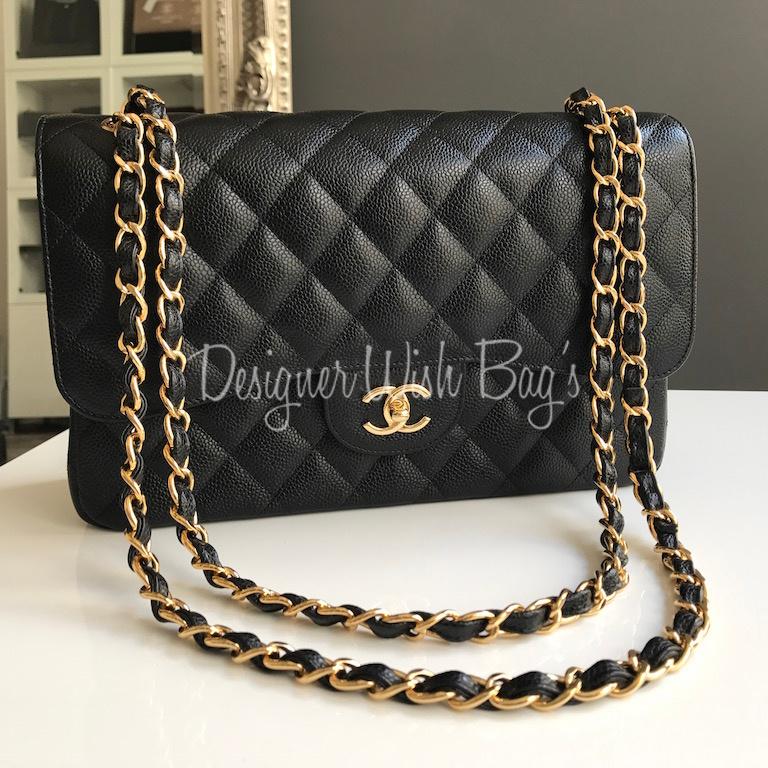Chanel Väskor Kopia : Chanel jumbo black caviar ghw