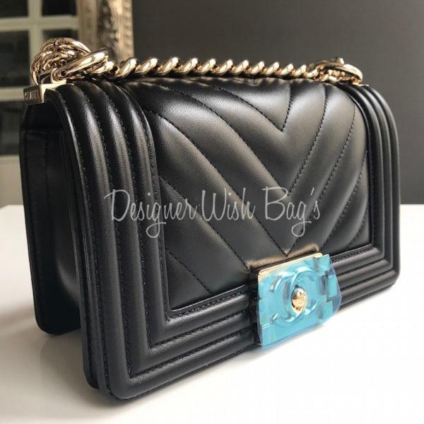 2e412ff2be96 Chanel Boy Black Chevron GHW Small -