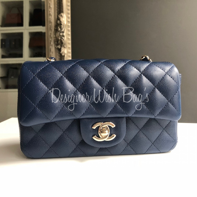 Chanel Mini Blue Navy Rectangular