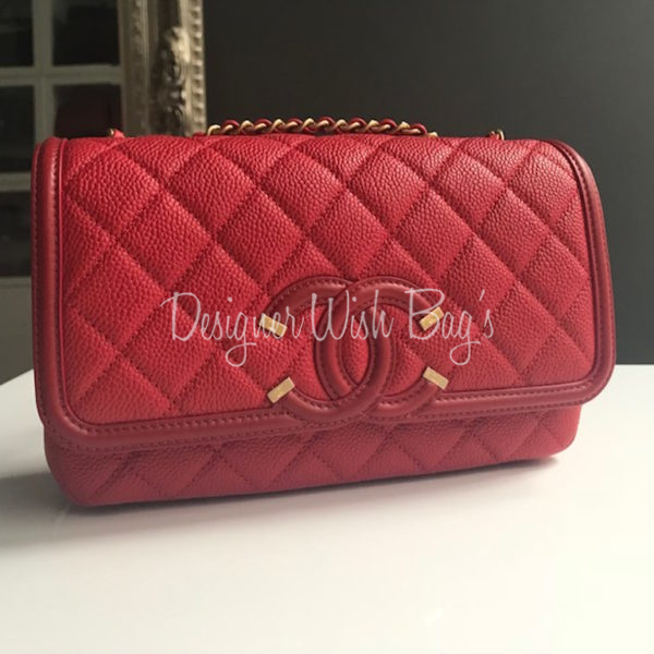 Chanel Red Filigree Flap Bag New Img 7036 7017 7019