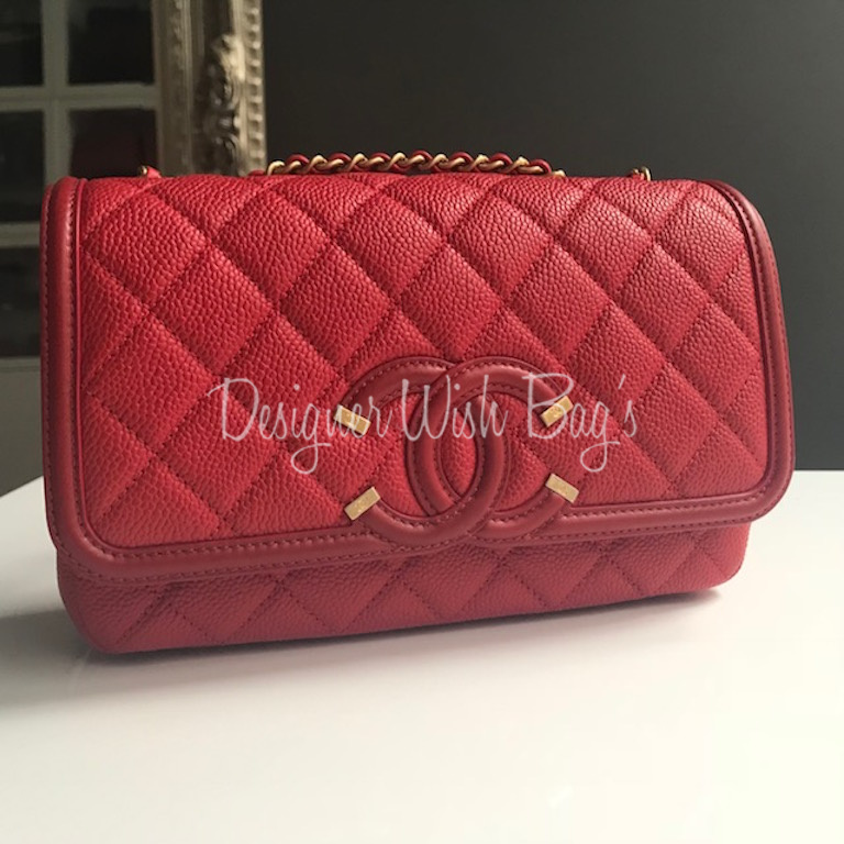 Chanel Red Filigree Flap Bag New