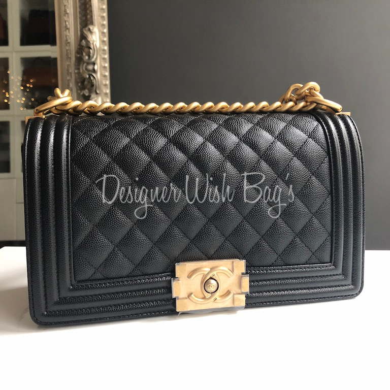 Chanel Boy Black Caviar Ghw New