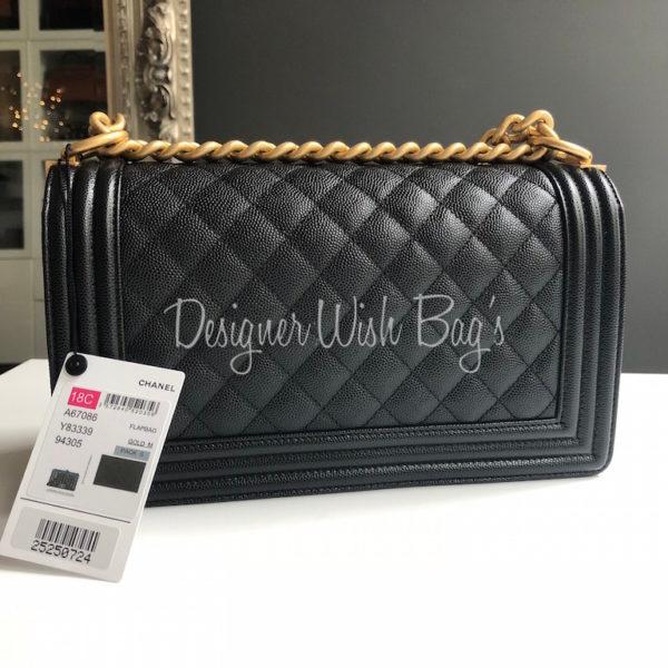 01cfaa9e8b50 Chanel Boy Black Caviar GHW New -