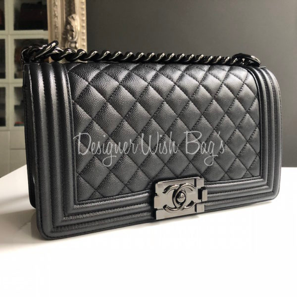 698c17415b9e03 Rare Chanel Boy So Black Caviar 17S. IMG_2681. IMG_5181. IMG_2684