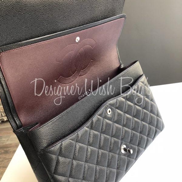 e35c0c6076f4 Chanel Maxi Black Caviar SHW -