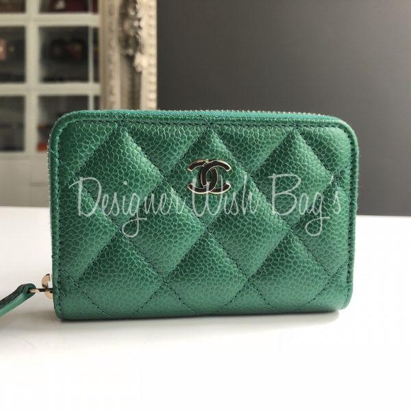 8912bcead08e Chanel Zip Coin Purse Green 18S -