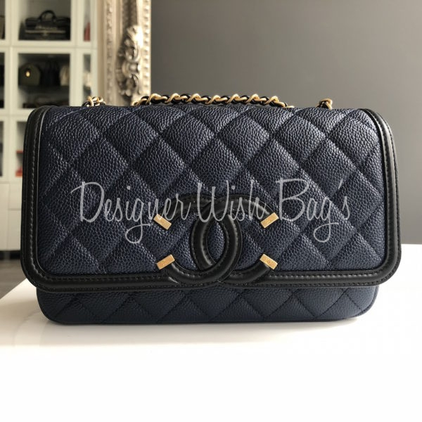 5dc5a4e3 Chanel Filigree Flap Black/Navy