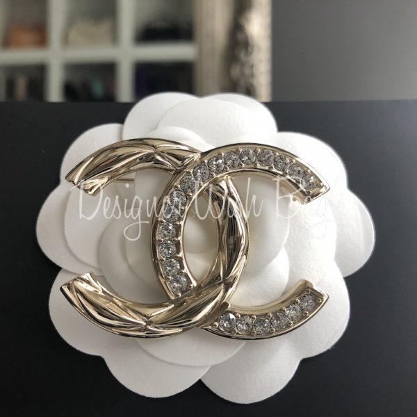 grande vente au rabais style moderne chaussures authentiques Chanel Brooch CC Rhinestones